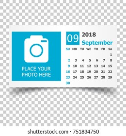 september 2018 calendar calendar planner design template with place for photo week starts on