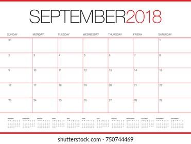 September 2018 planner calendar vector illustration, simple and clean design.