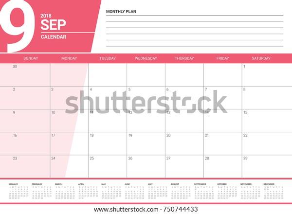 September 2018 Planner Calendar Vector Illustration Stock