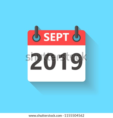 September 2019 Calendar Flat Style Icon Stock Vector Royalty Free