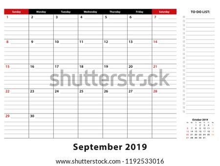 September 2019 Monthly Desk Pad Calendar Stock Vector Royalty Free