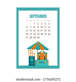 September 2020 calendar, autumn month, beach umbrella and retro suitcases, passport with tickets on a white background, vector illustration