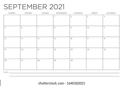 September 2021 Single Month Calendar Page Fits 11x17 Inch Print Modern Blank Template