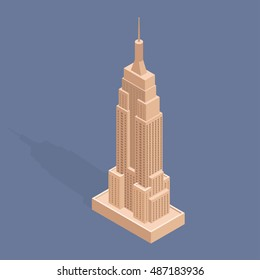 September 22, 2016: The Empire State Building. Isometric vector illustration