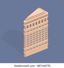 September 22, 2016: Flatiron Building. Fuller Building. Isometric vector illustration
