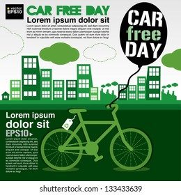 September 22nd World car free day ecology conceptual vector.EPS10