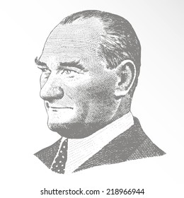 September 23, 2014 - Vector Portrait of Mustafa Kemal Ataturk (1881-1938), founder and first president of the Turkish Republic (1923-1938)