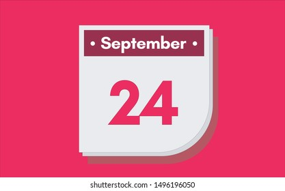 September 24th calendar icon. Day 24 of month. Vector illustration.