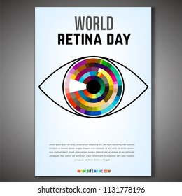 September 28 - world retina day. Vertical poster template. Editable vector illustration in bright colors. Medical and healthcare concept in modern style.