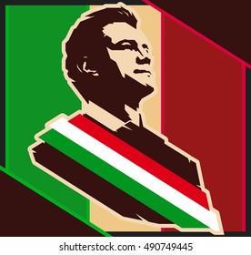September 29, 2016: President of Mexico Enrique Pena Nieto, vector portrait illustration.