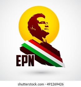 September 30, 2016: President of Mexico Enrique Pena Nieto and the initials of his name EPN vector portrait illustration.