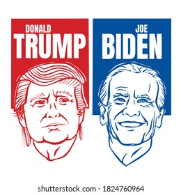 September, 30 2020: Illustration showing Republican Donald Trump vs Democrat Joe Biden face-off for American president with words Election 2020 on isolated background done in stencil retro style