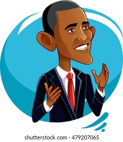 September 6, 2016, Barack Obama Vector Caricature - Funny illustration of the 44th President of the United States