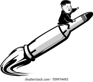 September 6, 2017: A Caricature of North Korea Chairman Kim Jong-un on a Rocket Ride