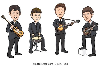 SEPTEMBER 6 2017: vector illustration of the Beatles band members on white background. World Beatles Day topic (January 16)
