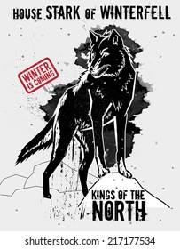 September 9, 2014: Vector illustration of the dire wolf, sigil of the House Stark of Winterfell, one of the noble houses in TV show Game of Thrones