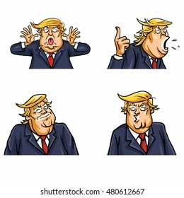 September 9, 2016: Donald Trump Face Expressions Set Pack Vector Illustration
