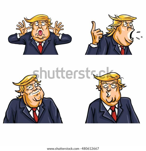 September 9, 2016: Donald Trump Face Expressions Set Pack Vector Illustration
