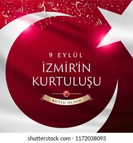 "September 9, Salvation of Izmir. Republic of Turkey National Celebration Card - English ""September 9, Salvation of Izmir"" Typographic Badge. (Turkish: 9 Eylul Izmir'in Kurtulusu) Turkish flag symbol."