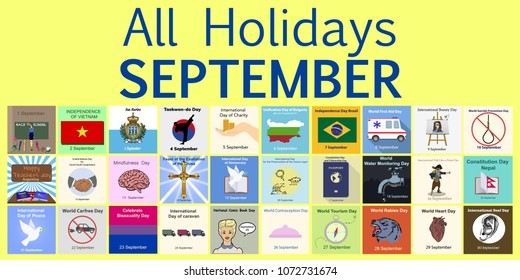 September. All Holidays greeting cards. Vector Template Pack.