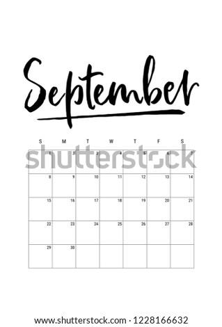 September Calendar Planner 2019 Week Starts Stock Vector Royalty