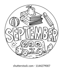 September Coloring Pages Kids Stock Vector Royalty Free 1144279007