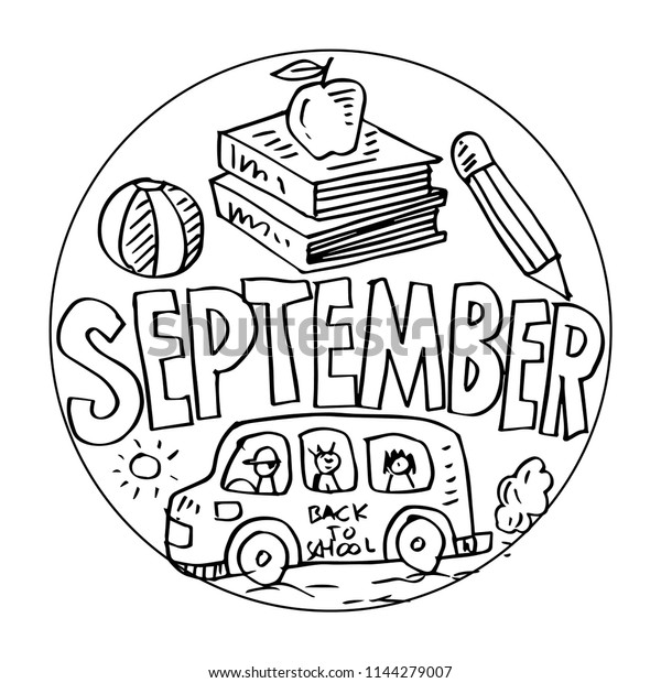 September Coloring Pages Kids | Education Stock Image