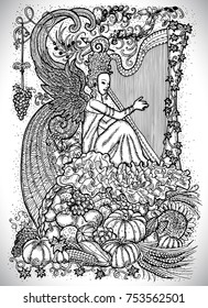 September month graphic concept. Hand drawn engraved fantasy illustration. Beautiful musician queen with arpa against the background of abundance horn with autumn harvest