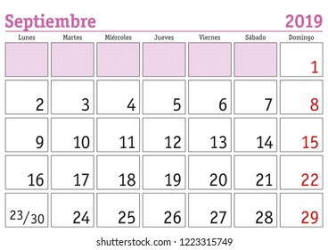 September month in a year 2019 wall calendar in spanish. Septiembre 2019. Calendario 2019