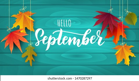 September text. Lettering typography. Vector illustration as poster, postcard, greeting card, invitation template. Concept September advertising