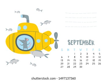September. Vector calendar page with cute rat in travel - Chinese symbol of 2020 year. Editable template A5, A4, A3 size, can be printed and used as a desk, table, wall calender for schedule and plans