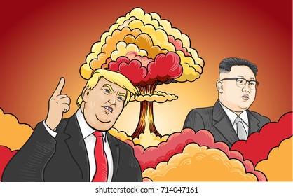 SEPTEMBER,13,2017: Caricature character illustration of Kim Jong Un and Donald Trump. Vector