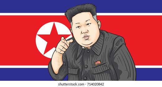 SEPTEMBER,13,2017:Caricature character illustration of Kim Jong Un