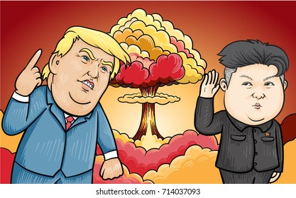 SEPTEMBER,13,2017:Caricature character illustration of Kim Jong Un and Donald Trump a background of a nuclear explosion