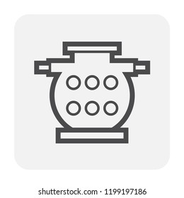 Septic tank icon design, black and outline.