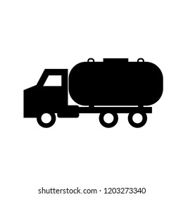 Septic tank truck silhouette icon. Clipart image isolated on white background