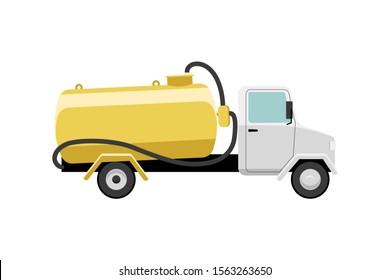 Septic truck vector illustration. Vacuum truck for sewage sludge transportation
