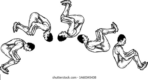 Sequence of an acrobat doing a forward-flip somersault. Hand drawn vector illustration.