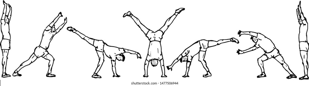 Sequence of a boy doing a cartwheel. Hand drawn vector illustration.