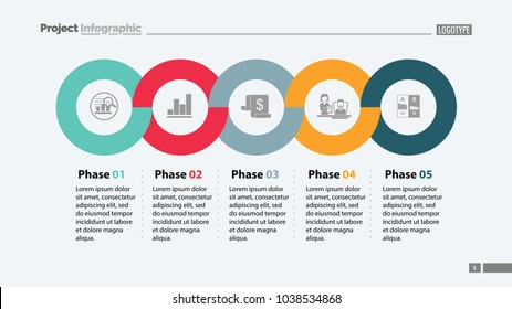 Sequence of five phases template. Business data. Graph, chart, design. Creative concept for infographic, report. Can be used for topics like marketing, economics, development