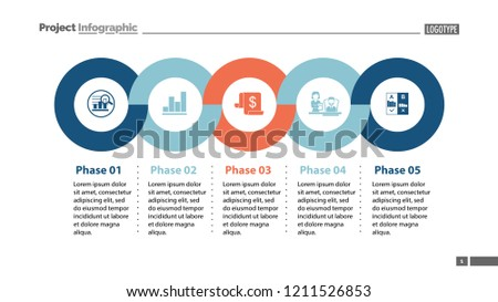 sequence five phases template business data stock vector royalty