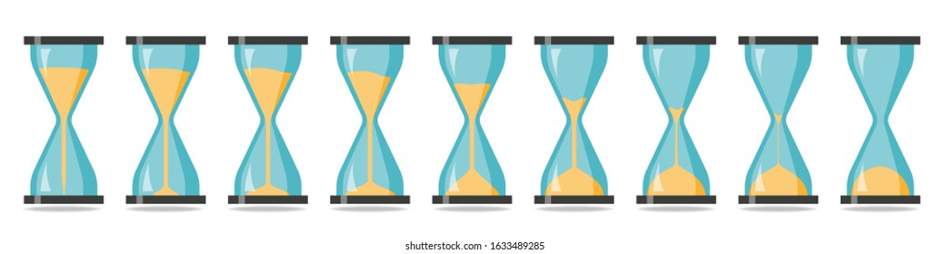 Sequence of hourglasses where time passes and the sand is pouring down.