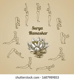 Sequence of yoga poses and lotus flower. Sun salutation, Surya namaskar. Poster. Engraving style. Vector illustration.
