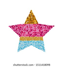 Sequin colorful star. Trendy kids print. Vector illustration.