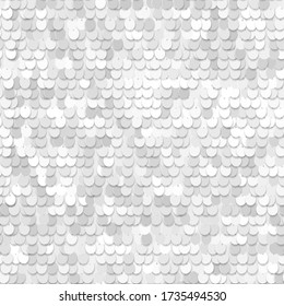 Sequined white texture. Fabric with palliettes. Seamless vector realistic background of shiny material.