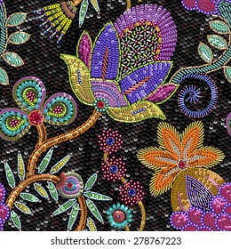 Sequins Floral seamless pattern.