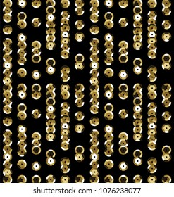 Sequins Seamless Pattern. Decorative seamless background with fabric with round sequins. Seamless pattern with small decorative objects. Vector Golden Sequins with black background
