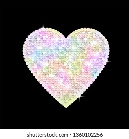 Sequins sparkling rainbow multicolored heart. Vector illustration.