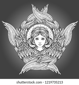 Seraph, six winged Angel. Isolated hand drawn vector illustration. Highest rank in Christian angelology. Trendy Vintage style element. Spirituality, occultism, alchemy, magic, love. Coloring book.