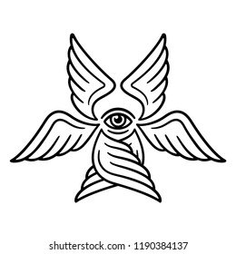 Seraphim, six-winged angel from Bible Book of Revelation. Stylized Seraph illustration for tattoo design, black and white line art.